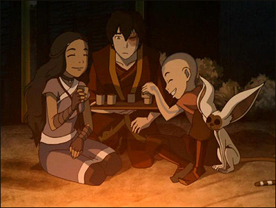 katara, zuko, aang, and momo