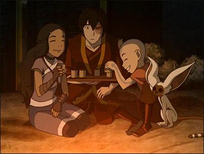 katara, zuko, aang, and momo